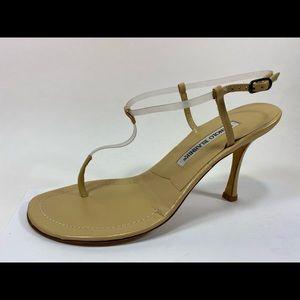Manolo Blahnik Cream Thong Heels Sz 37M